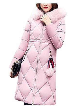 bb7971a6866b WLITTLE Damen Winter Daunenmantel Daunenjacke Kapuzenjacke Kapuzenmantel  Mit Fellkapuze Parka Winter Mantel Jacke Lang Steppmantel Outerwear