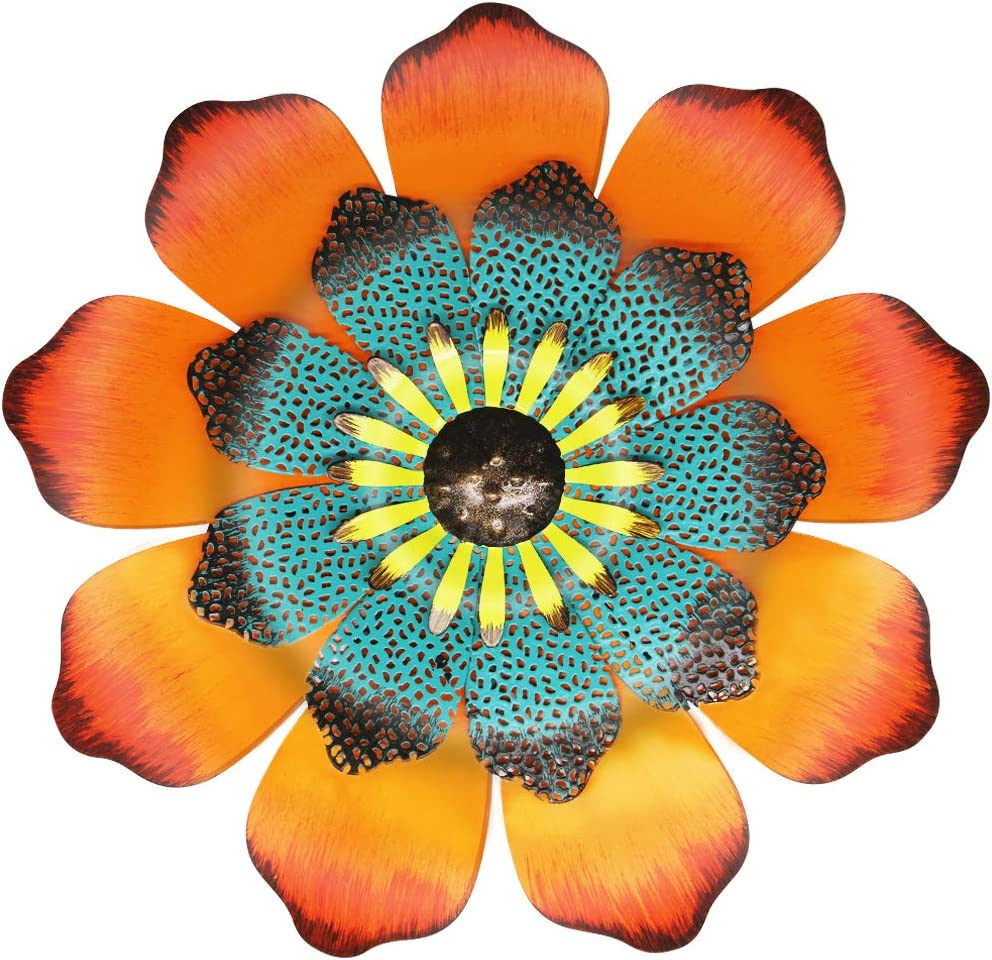 "Juegoal 16"" Large Metal Flower Outdoor Wall Decor Garden Hanging Decoration for Patio Bedroom Living Room Office, Orange"