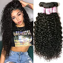 Beauty Forever Hair Brazilian Virgin Hair Curly Weave 3 Bundles 100% Unprocessed Human Hair Extensions Nature Color (100+/-5g)/ Pc (8 10 12)