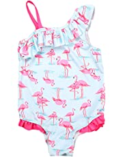 QQDAYLY Baby Girls Kids One Shoulder Birds Ruffle One Piece Swimwear Bathing Suit