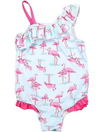 9bcba1191f298 QQDAYLY Baby Girls Kids One Shoulder Birds Ruffle One Piece Swimwear  Bathing Suit