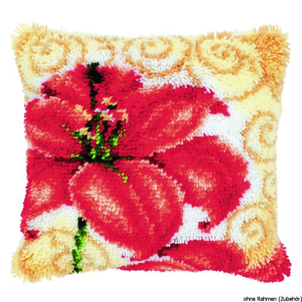 Vervaco PN-0145612 Knüpfkissen Lilien