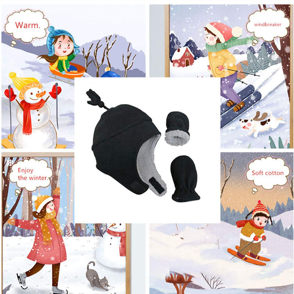 2 Pcs Chapeau de B/éb/é Moufles B/éb/é Anti-Griffure Manyo Bonnet Chapeau Oreille Polaire Moufles B/éb/é Hiver Mitaines /Épais