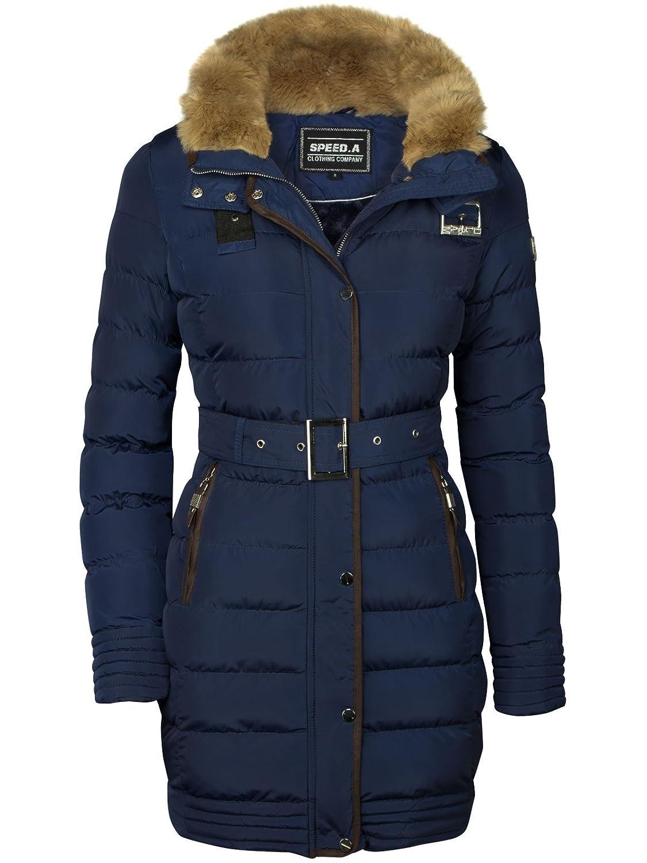 Winter Neu Lang Warm Gefüttert Jacke Mantel Kapuze Stepp Kragen Parka Damen Fell 8wPkn0O