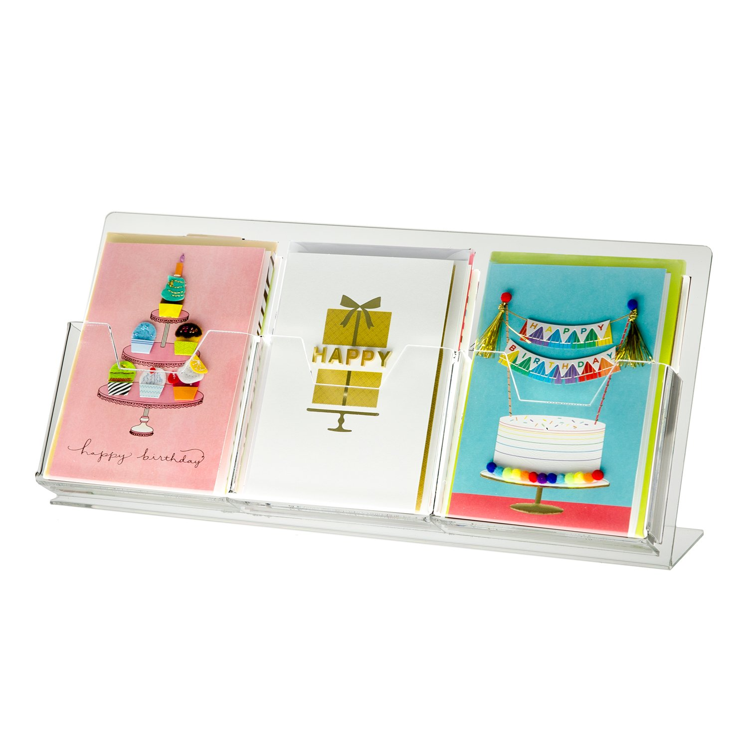 SOURCEONE.ORG Source One Deluxe Clear Acrylic Countertop Greeting Card Display 1 & 3 Pockets Available (1, 3 Pocket)