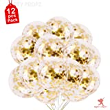 Party Propz® Balloons with Golden Colored Pre-Filled Confetti (Set of 12)
