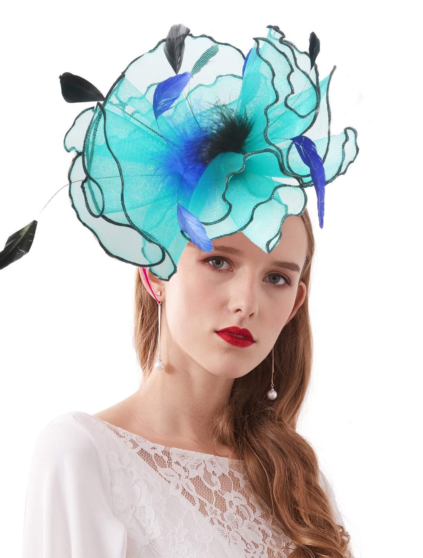 Bellady Women Organza Church Derby Hat Ruffles Wide Brim Summer Bridal Cap,Blue Derby Day Hats,One Size by Bellady (Image #5)