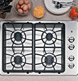 "Amazon Price History for:30"" Wide 4 Sealed Burner Gas Cooktop Matte Grates Dishwasher-Safe Grates and Knobs Continuous Grates: Stainless"