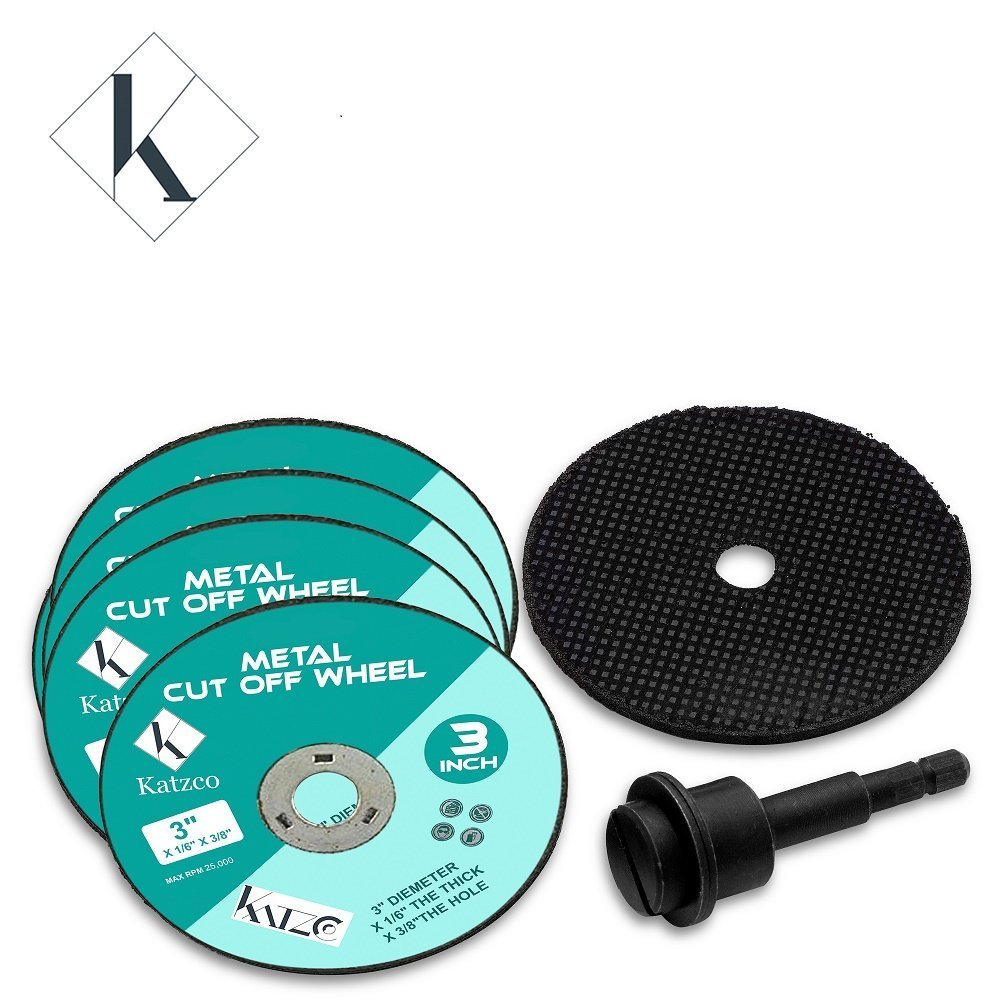 To Use With Drill Wheel Size 3 X 5//64 X 38 For Cutting Metal And Steel Max R.P.M 25.000-5 Pack 3 Inch Metal Cutting Wheel With 1//4 Mandrel By Katzco