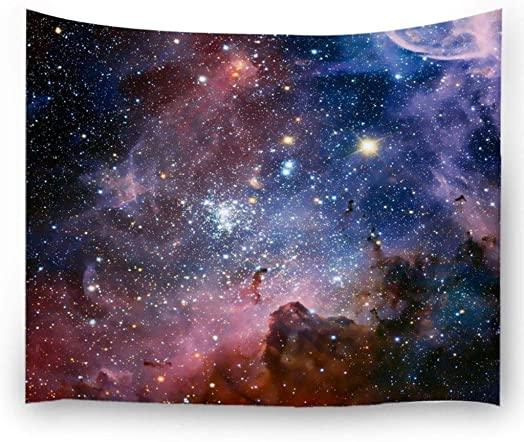 Ihome888 Space Star Tapestry, Outer Universe Galaxy Large Tapestries Wall Hanging for Bedroom Living Room Dorm, 90 Inch by 70 Inch, Colorful