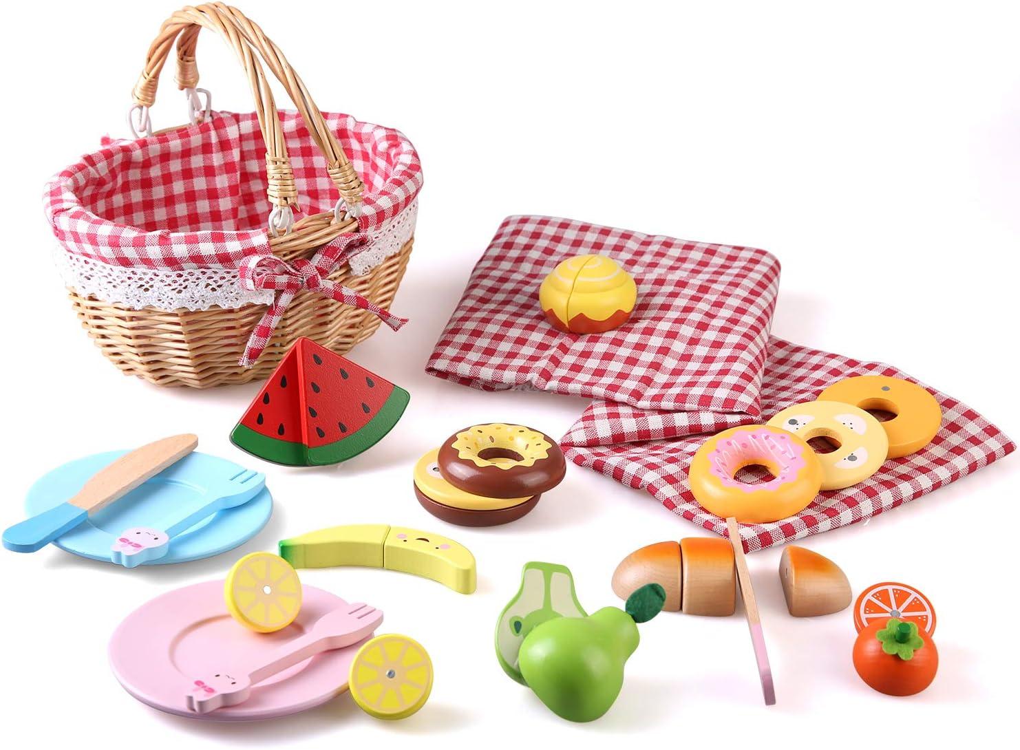 BeebeeRun Alimentos de Juguete para Niños, Cortar Frutas y Postres Madera con Cesta de Picnic y Colchoneta de Picnic, Juegos de Cocina Juguetes Educativos para la Primera Infancia 3 años+