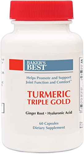 Baker s Best Turmeric Triple Gold Turmeric Ginger Supports Joint, Tendon, Digestion, Immune System Turmeric, Ginger, Black Pepper Fruit Extract, Cayenne Pepper Fruit Powder 60 Capsules