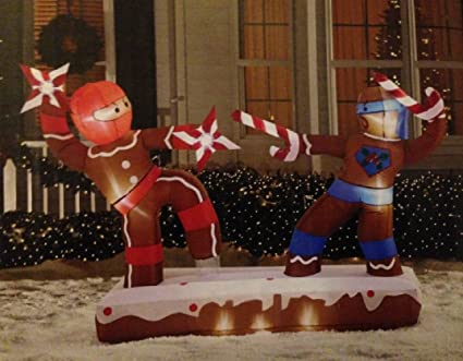 christmas inflatable 68 dueling gingerbread man ninjas outdoor yard decoration - Gingerbread Outdoor Christmas Decorations