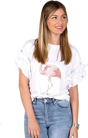Camiseta Blanca Manga Corta con Flamenco, Perlas y Volantes en Las Mangas: Amazon.es: Ropa y accesorios