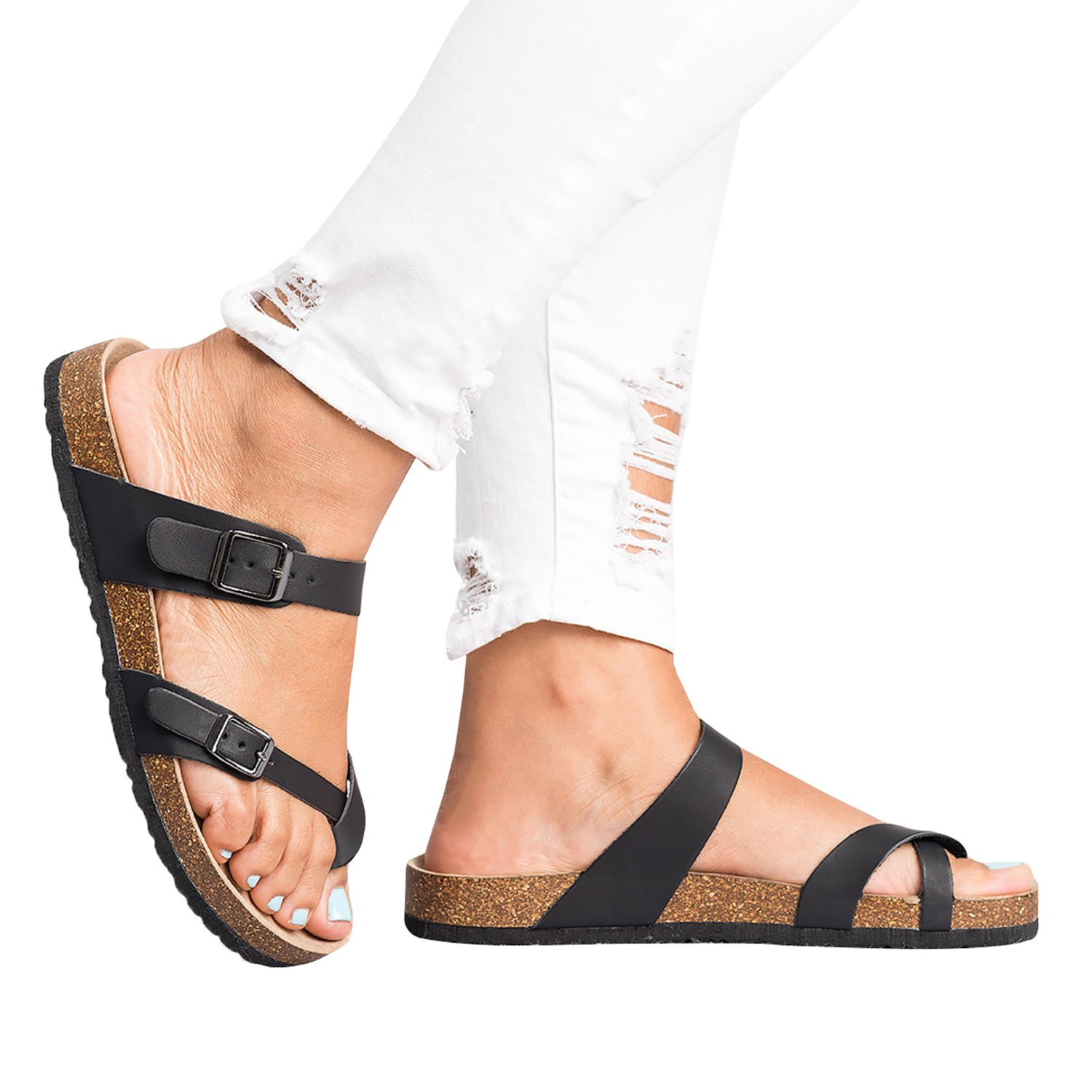 Ermonn Womens Thong Flat Sandals Gladiator Buckle Strappy Cork Sole Summer Slides by Ermonn (Image #2)