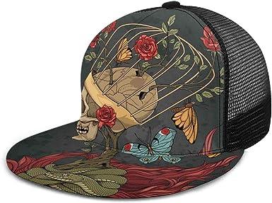 Gorra de béisbol con diseño de Calavera Mexicana y Rosas de azúcar ...