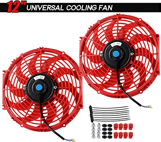 Upgr8 2 Pack Universal High Performance 12V Slim Electric Cooling Radiator Fan With Fan Mounting Kit 16 2-Pack