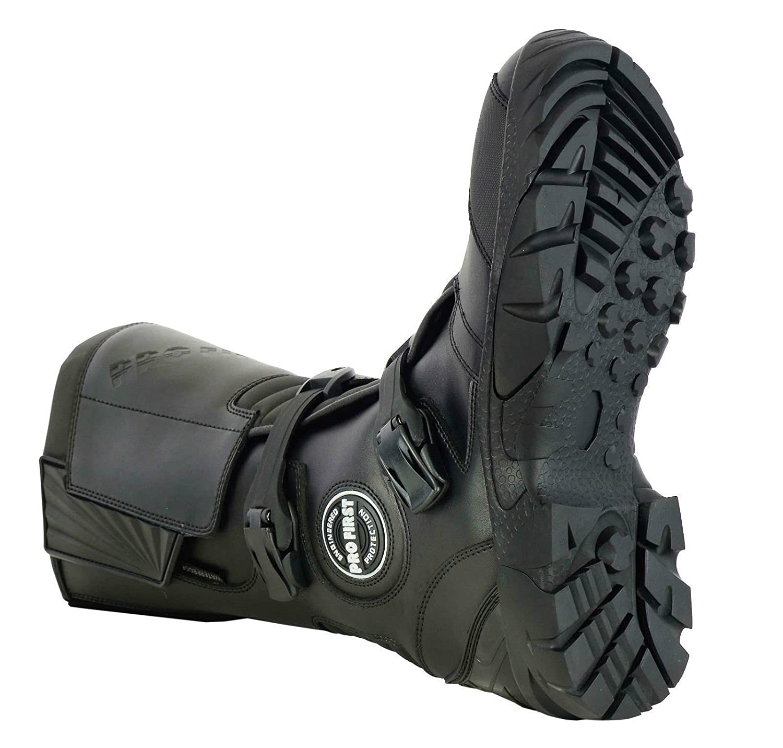 Rider Boots Leather Waterproof Motorbike Motorcycle Winter Racing Biker Boots Adventure Biker Shoes Mens 11 //EU 45 Black