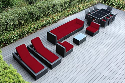Genuine Ohana Outdoor Sectional Sofa and Dining Wicker Patio Furniture Set