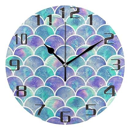 Amazon Com Kuwt Sea Mermaid Fish Scales Wall Clock Silent Non