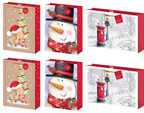 Christmas Gift Bags.Set Of 6 Extra Large Christmas Gift Bags With Handle Tag Mixed Designs