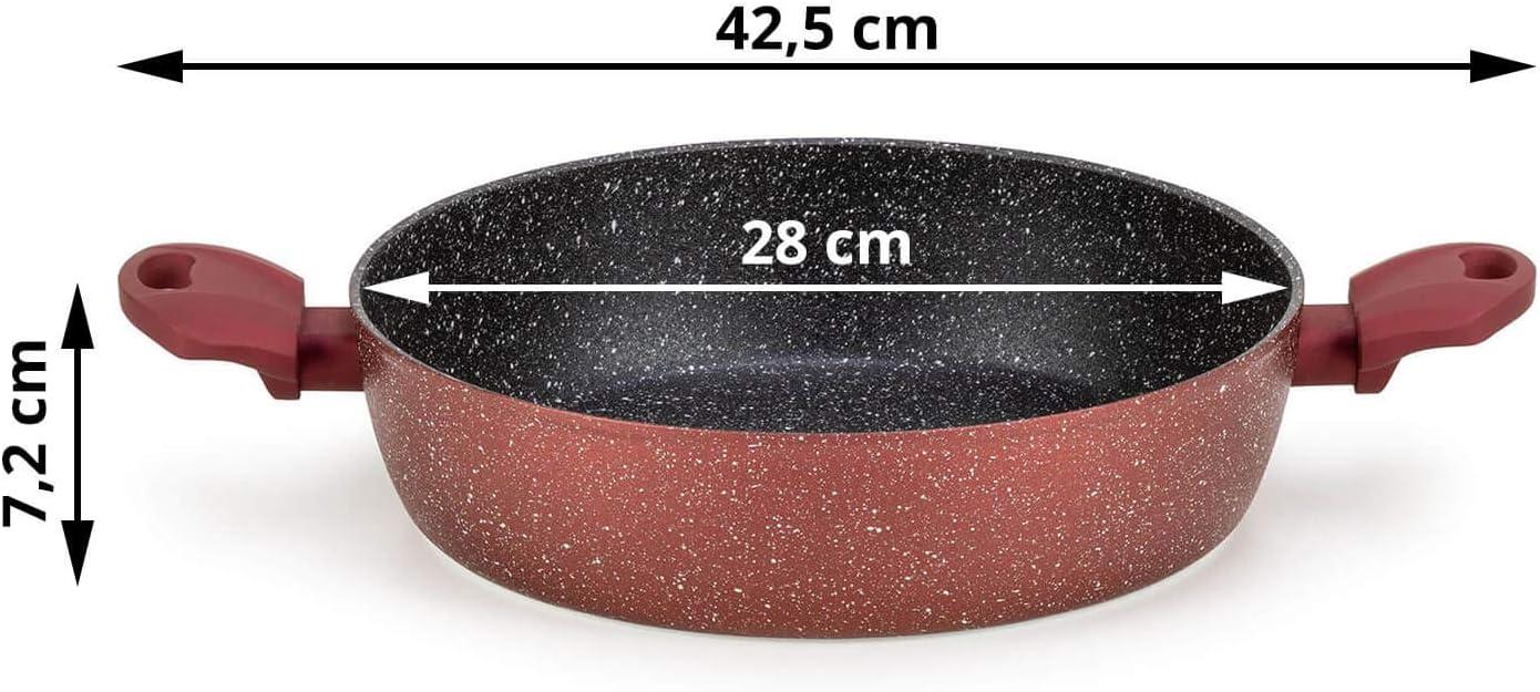 5ply I Grape Line fettfreies Bratten Erw/ärmt schneller Bratpfanne 28 cm f/ür alle Herdarten ROSMARINO Pfanne 28 cm