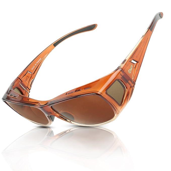 DUCO Gafas Polarizadas para usar con Anteojos Debajo 8953 Tamaño Comun Color Marrón