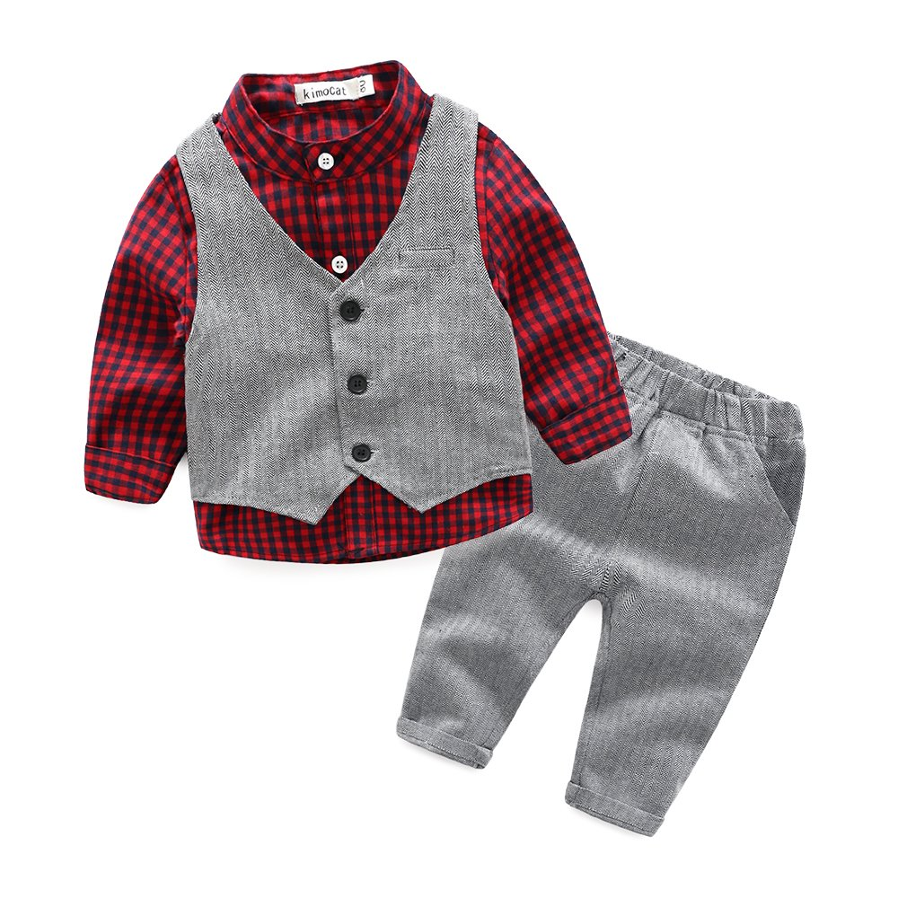 Kimocat Boys' Plaid Button Down Polyester Casual Dress Shirt Slim Fit +Vest+Pant Outfits