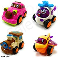 SaleON Set of 4 Unbreakable Friction Powered Automobile Car Helicopter Plane Train Toys for Kids-938