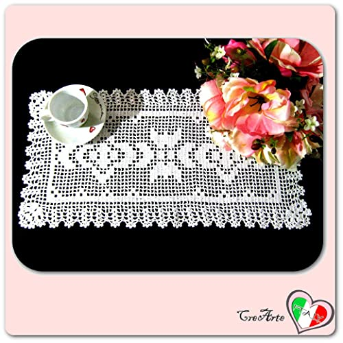 Rechteckig Weiß Häkeln Deckchen Aus Baumwolle Größe 47 Cm X 24 Cm