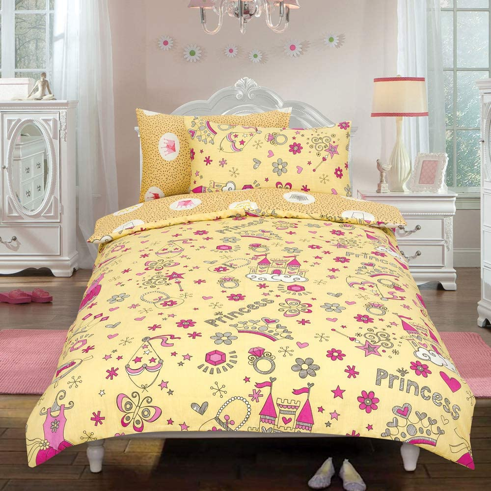 Todd Linens Kids 2 in 1 Reversible Quilt Duvet Cover and Pillowcase (Princess Crown Cream, Double) £6.99 @ Amazon