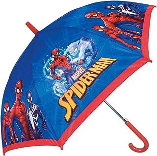 Ombrello Marvel Spiderman Bambino - Ombrello lungo Antivento Uomo Ragno - Automatico - 6/9 Anni - Blu e Rosso - Diametro 85 cm - Perletti