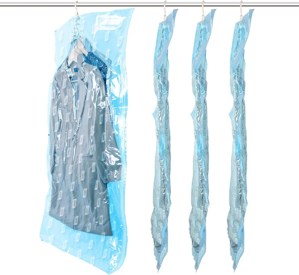 """TAILI Hanging Vacuum Storage Bags for Clothes 4 Pack Extra Large Vacuum Garments Space Saver Bags Hold 20pcs Coats, Suits, Long Dress and Jackets, Top Vacuum Closet Organizer Bags 53""""x27.6"""""""