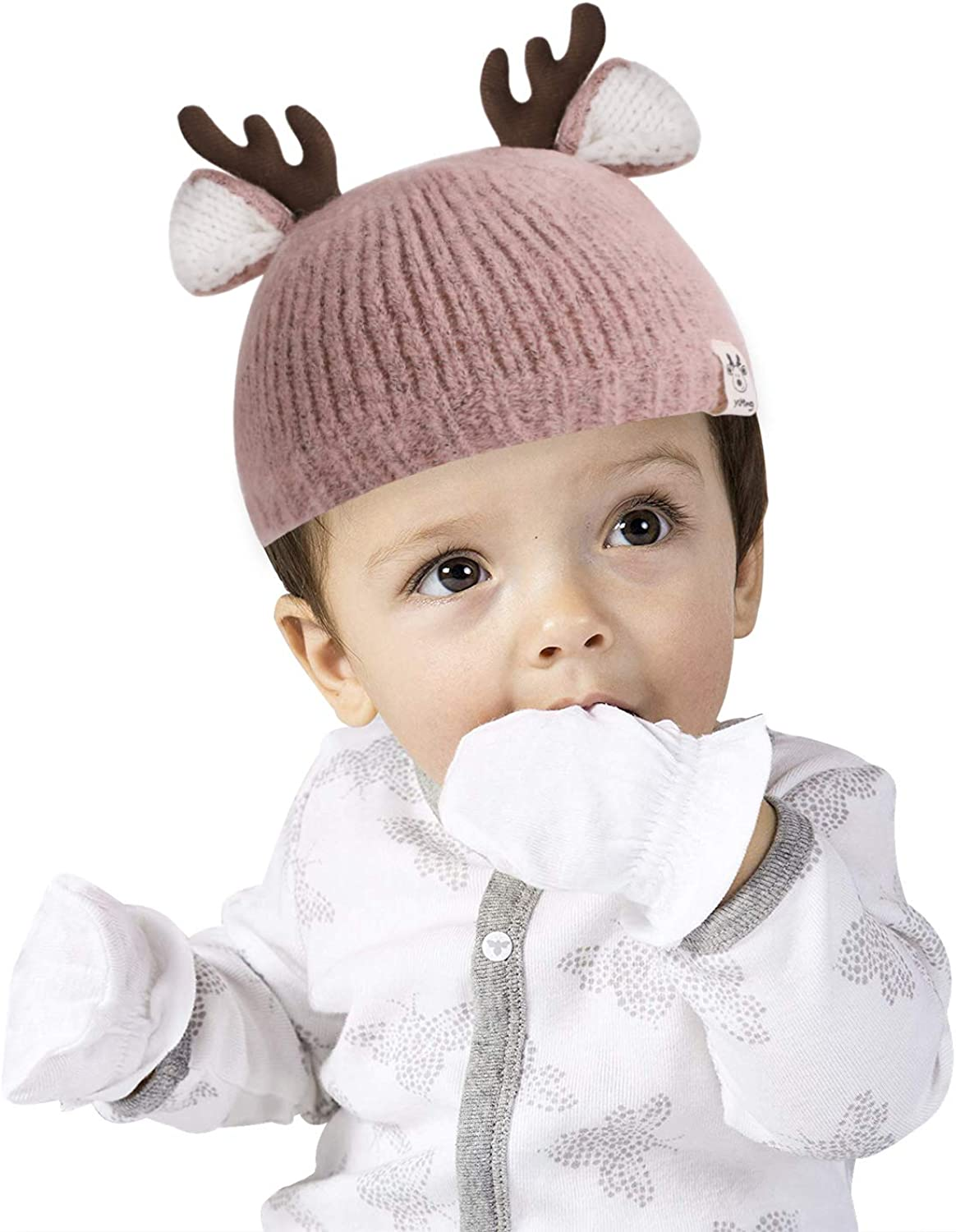 Baby Winter Knitted Hat Cute Deer Beanie Hat Adorable Antler Baby Cap Newborn Baby Photography Prop Cotton Lined Hat Kids Christmas Party Favors for 3-24 Months Baby 40-50cm