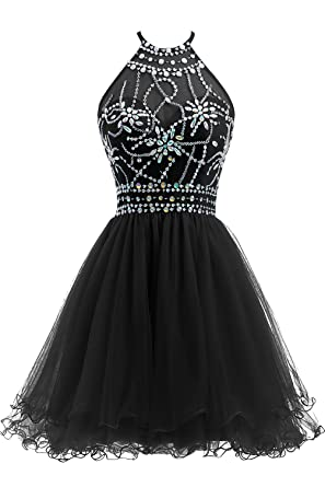 afa88501a38 Ellames Women s Beaded Halter Homecoming Dress Short Tulle Prom Dress Black  US 2