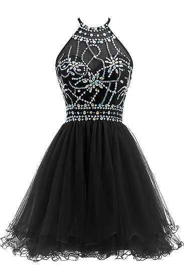 Review Ellames Women's Beaded Halter Homecoming Dress Short Tulle Prom Dress