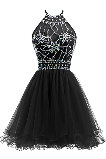 authentic quality professional hot-selling Ellames Women's Beaded Halter Homecoming Dress Short Tulle Prom Dress