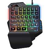 Gaming Keyboard,Gaming keypad,SADES One-Hand Gaming Keyboard,Small Gaming Keyboard Feel Wide Hand Rest 35 Keys,RGB Gaming Keyboard Colorful Backlight Game LOL/PUBG/Fortnite/Wow/Dota/OW