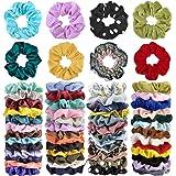 Cehomi 52Pcs Hair Scrunchies Velvet,Chiffon,Satin Elastic Hair Bands Scrunchie Bobbles Soft Hair Ties Ropes Ponytail…
