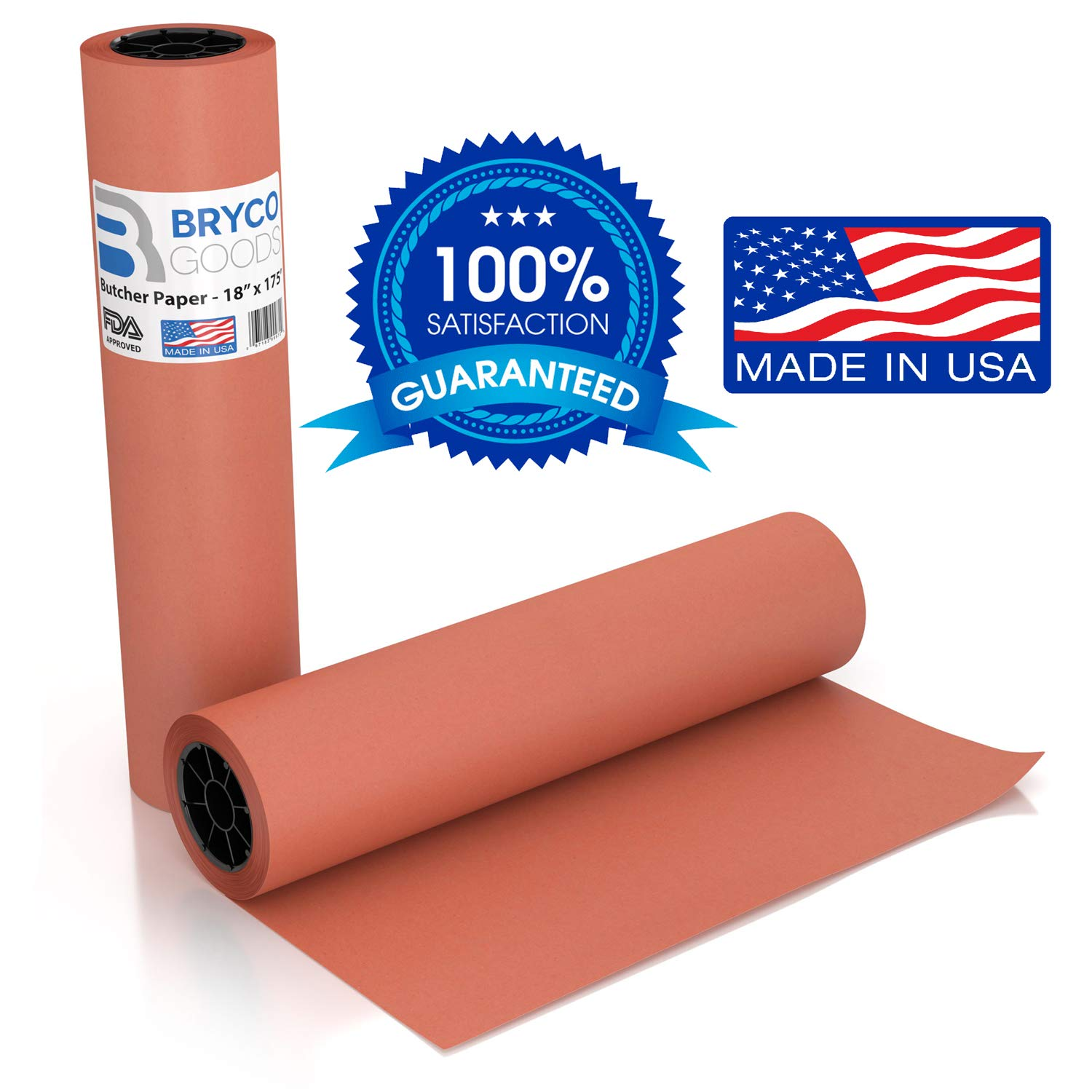 Pink Kraft Butcher Paper Roll - 18 Inch x 175 Feet (2100 Inch) - Food Grade FDA Approved - Peach Wrapping Paper for Smoking Meat of All Varieties - Made in USA - Unbleached, Unwaxed and Uncoated by Bryco Goods