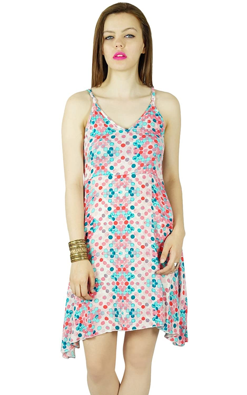 Bimba Frauen Mehrfarben Rayon kurzes Kleid-Isolationsschlauchbügel shiftcustom Kleid