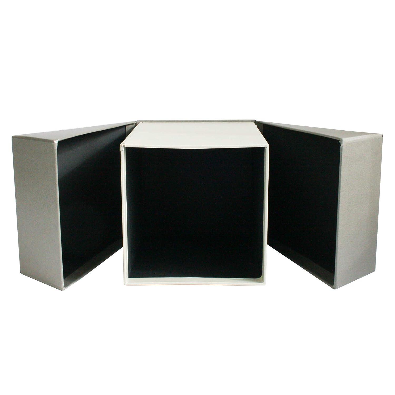 Emartbuy Conjunto de 3 R/ígido Lujo Rect/ángulo Presentaci/ón Caja de Regalo de Apertura Lateral Interior Negro y Cinta Decorativa Caja Negra Con Tapa Roja