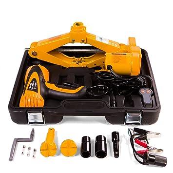 Gato eléctrico portátil y llave de impacto para coche, 12 V, para SUV y todoterrenos, levanta hasta 2000 kg: Amazon.es: Coche y moto