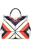DOLCE & GABBANA Miss Sicily Striped Chevron White Orange Dauphine Leather Medium Bag Handbag Purse Tote