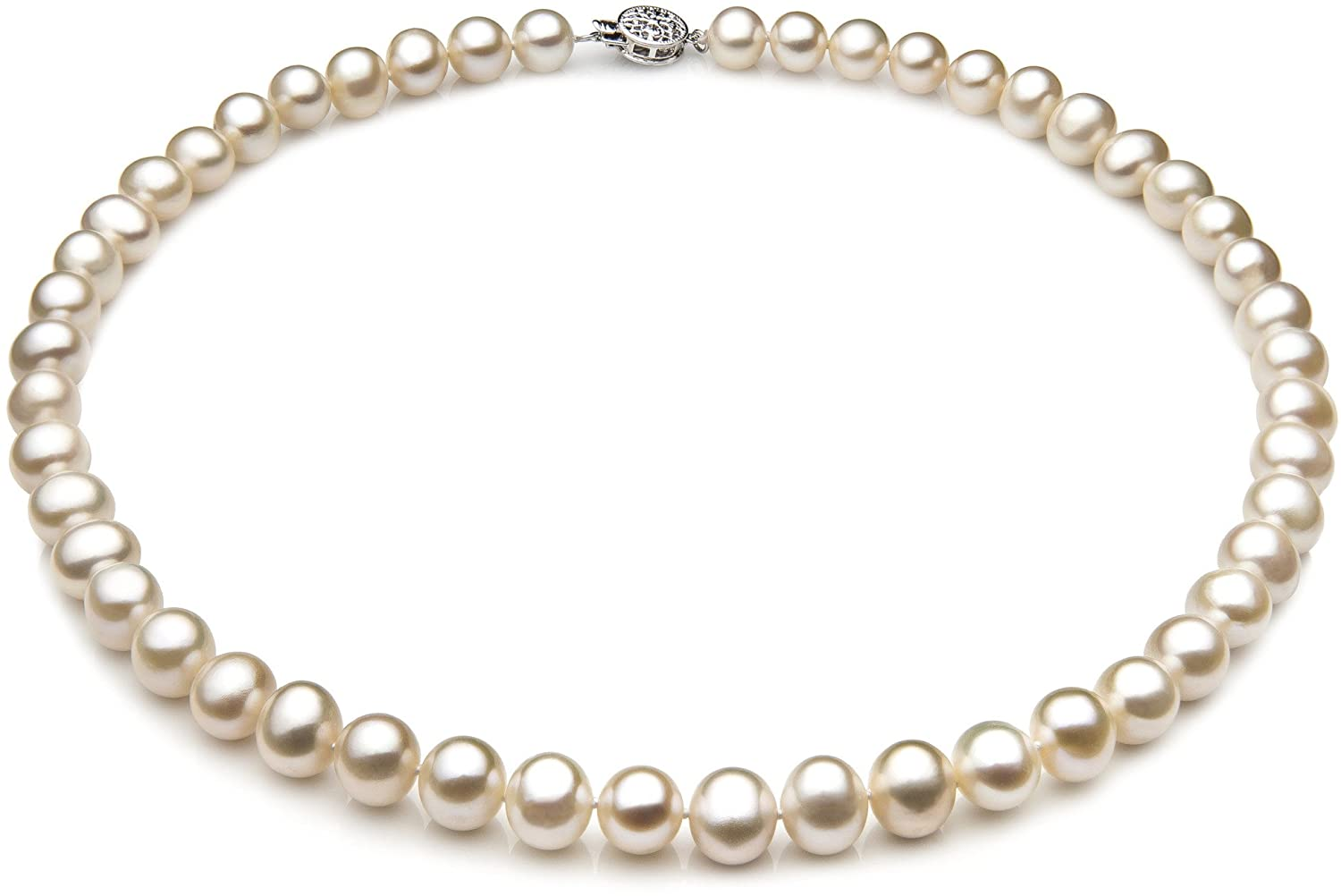 PearlsOnly - Single White 7-8mm A Quality Freshwater 925 Sterling Silver Cultured Pearl Necklace CA-AMZ-FW-W-A-78-N-16