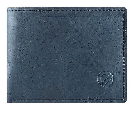 Corkor Cartera de Corcho Vegano con Bolsillo de Monedas Bloqueo RFID Hombre Azul