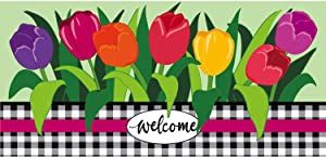 Evergreen Flag Indoor Outdoor Décor for Homes Gardens and Yards Welcome Spring Tulips Sassafras Switch Mat