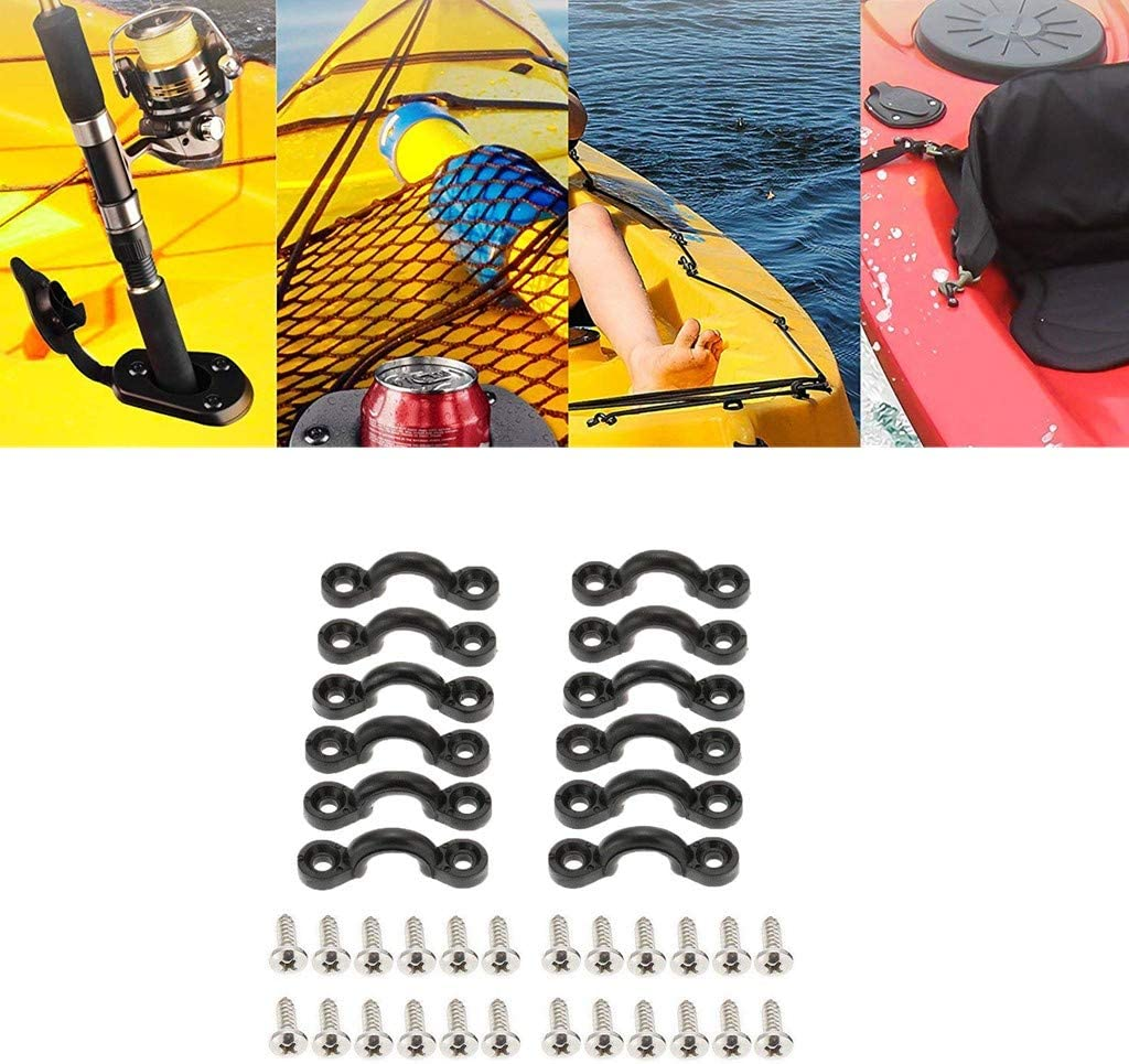 YiMusic 12 Pieces Nylon Kayak Deck Loops Pad Eyes with Screws Suit for Fixed Kayak Deck Lines Run Shock Cord Rigging