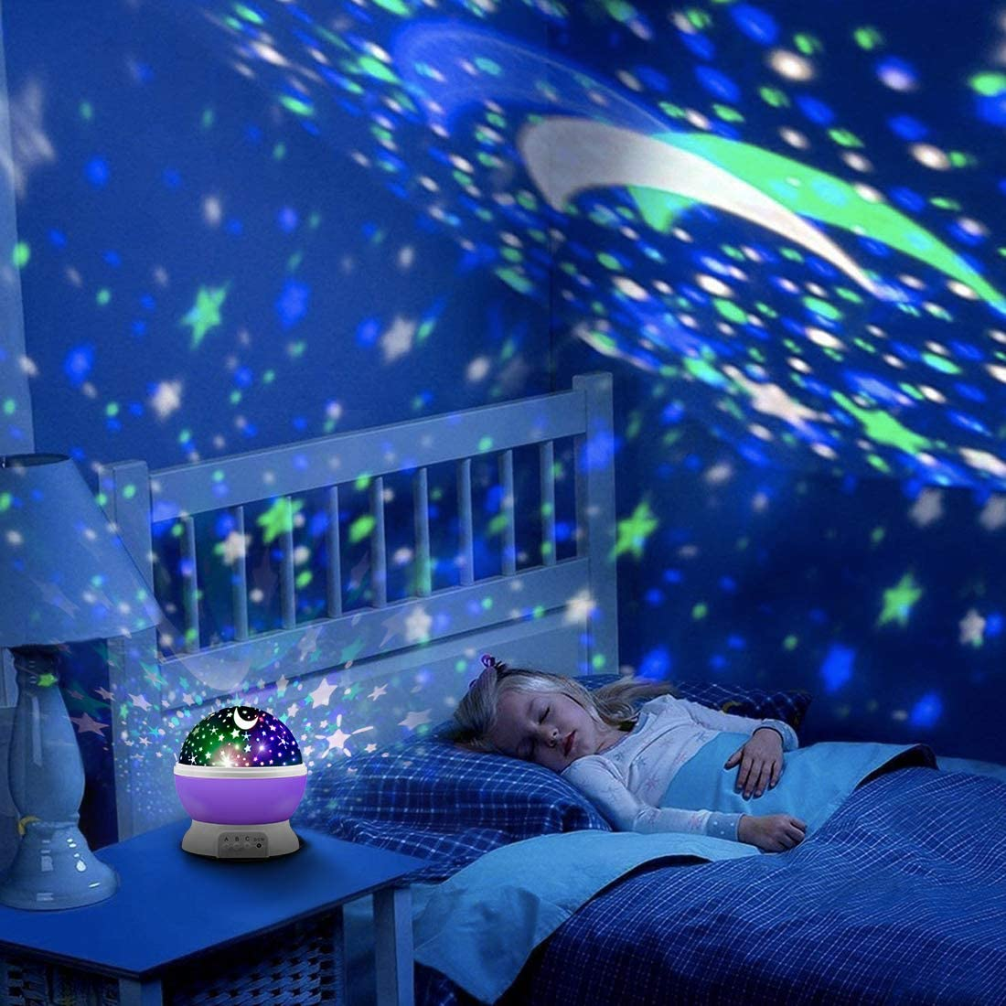 Glow in The Dark Stars and Moon for Child Asleep Peacefully MOKOQI Star Projector Night Lights for Kids Fun Gifts for 1-4-6-14 Year Old Girl and Boy Projection Lamp for Kids Bedroom