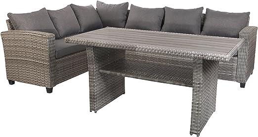 Mojawo Luxe Lounge Kit 5 pièces Mobilier de jardin en rotin ...